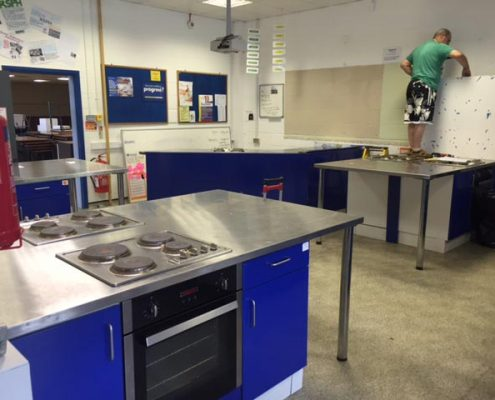 kitchen classroom being kitted out